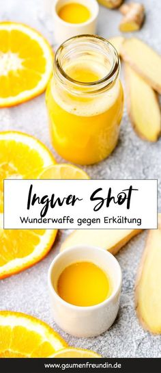 Ginger shot with oranges – a healthy trend drink for the cold season Ingwer Shot mit Orangen – Gesundes - Detox Smoothie Recipes, Detox Recipes, Healthy Smoothies, Healthy Drinks, Gourmet Recipes, Healthy Recipes, Fast Recipes, Superfood, Strawberry Smoothie