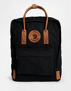 Fjallraven+Kanken+No+2+Backpack+with+Leather+Handles+in+Black