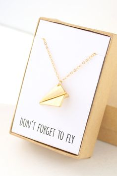 "Gold Paper Airplane Necklace ""Don't forget to fly"""