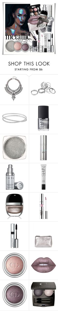 """""""The variety of metallic shades"""" by katie888-777 ❤ liked on Polyvore featuring Maison Margiela, NARS Cosmetics, Colbert MD, Natura Bissé, Marc Jacobs, By Terry, Jaeger, Christian Dior, Lime Crime and Chantecaille"""