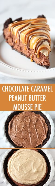 Oh my WORD. This is pure decadence! Chocolate Peanut Butter Caramel Mousse Pie Oh my WORD. This is pure decadence! Peanut Butter Mousse Pie, Peanut Butter Desserts, Chocolate Peanut Butter, Chocolate Recipes, Chocolate Caramels, Chocolate Cheesecake, Chocolate Torte, Chocolate Pudding, Just Desserts