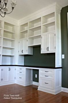 Craft Room Built Ins Cubbies Ideas – Home Office Design Corner Home Office Space, Home Office Design, Home Office Decor, Office Ideas, Ikea Office, Office Spaces, Small Office, Built In Desk, Built Ins