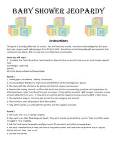 Baby Shower Jeopardy Template  Baby Shower Ideas