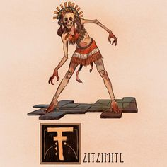 nathanandersonart:  Name: Tzitzimitl (roughly pronounced Zee Zee Meel)Area of Origin: Central Mexico; The AztecsIn Aztec Mythology, A Tzitzimitl (plural: Tzitzimimeh) is a female deity associated with the stars. They were usually depicted as skeletal figures, often wearing skirts and decorative headdresses. In the most famous depictions, adorning their bodies are severed hands, and cut-out hearts, and appear to have pointed claws on both their hands and feet. Another odd detail is that they…