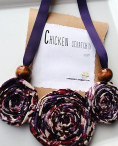 Fabric Flower Necklace-  Purple Ribbon Necklace- Bib Necklace