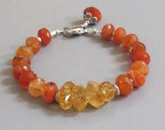 Labradorite Sunstone Amethyst Bracelet Gemstone Silver by DJStrang