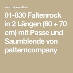 01-830 Faltenrock in 2 Längen (60 + 70 cm) mit Passe und Saumblende von patterncompany