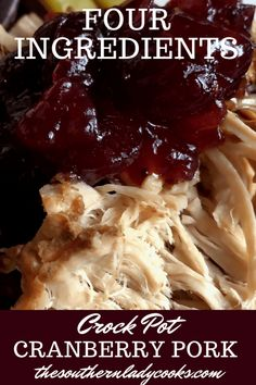 Crock Pot Cranberry Pork is so easy and the flavor is wonderful. The pork and the cranberry together is a fabulous match. This dish makes a wonderful gravy that Slow Cooked Meals, Crock Pot Slow Cooker, Crock Pot Cooking, Crock Pot Pork, Crockpot Meals, Crockpot Dishes, Cooking Oil, Paleo Crock Pot, Crock Pot Sausage