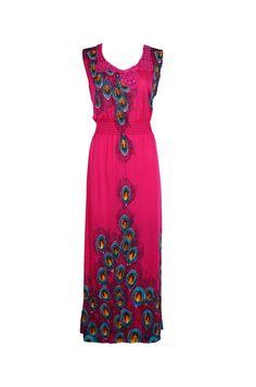 Sleeveless Plus Size Peacock Summer Holiday Resort Maxi Dress