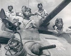 Chinese crew of a M4 Sherman medium tank, southern China or Burma, date unknown