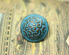 Cirrus Metal Buttons , Copper Blue Color , Domed , Shank , 0.59 inch , 10 pcs on Etsy, $6.00