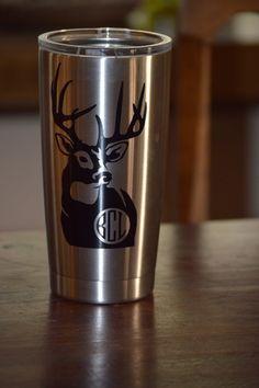 Monogrammed Deer Yeti Tumbler 10 oz 20 oz by SippitydoodahDesigns Monogram Cups, Vinyl Monogram, Silhouette Cameo Projects, Silhouette Design, Vinyl Crafts, Vinyl Projects, Vaso Yeti, Rtic Cups, Hunting Decal