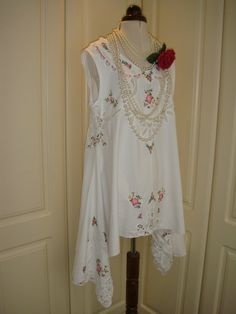 Gorgeous Upcycled Recycled White Vintage Cotton by PrettyUnusuall