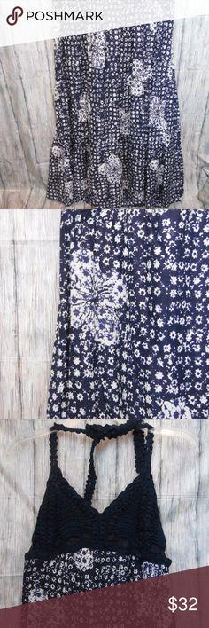Lucky Brand by John Robshaw Crochet Halter Dress EUC Beautiful full dress Tie back crocheted halter top  Length: Bust from armpit to armpit: Lucky Brand Dresses Maxi
