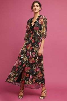 Farm Rio Laina Maxi Dress. A deep v-neck trimmed with bold lace makes a statement on this delicate floral gown. affiliate