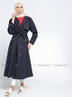 Navy Blue - Unlined - Point Collar - Trench Coat - Everyday Basic