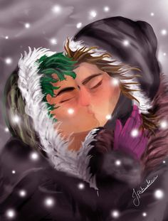 """""""I wanted to draw this for so long and now it goes with the christmas theme too, here is my favourite couple from the magnus chase series ❤❤❤ """" ^^SO AMAZING OH MY GOODNESS! Magnus Chase, Arte Percy Jackson, Percy Jackson Fandom, Rick Riordan Series, Rick Riordan Books, Solangelo, Percabeth, Alex Fierro, Asgard"""