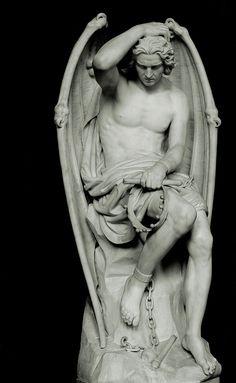 """Guillaume Geefs - """"Lucifer"""" - Statue située dans la cathédrale Saint-Paul de Liège en Belgique - Associé à l'orgueil, le Lucifer mentionné dans le Livre d'Isaïe est assimilé par la tradition chrétienne à Satan, présenté dans le Livre d'Hénoch comme un puissant archange déchu à l'origine des temps pour avoir défié Dieu, et ayant entraîné les autres anges rebelles dans sa chute. Il incarne le mal & la tentation."""