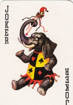 1-SINGLE-VINTAGE-SWAP-PLAYING-CARD-JOKER-ELEPHANT