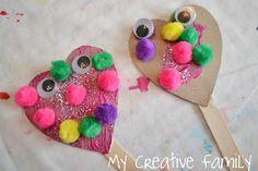 Preschool Crafts for Kids*: Valentine's Day Heart Puppets Craft