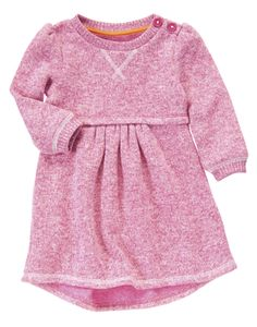 Cozy and bright fashion! Super soft sweatshirt dress with sweet pleats at the waist.