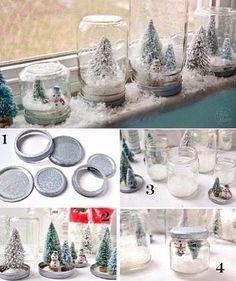 Mason jar snowglobes!