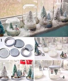 Mason jar snowglobes!                                                                                                                                                                                 More
