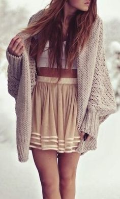 the mid-drift top and over sized sweater combo. So cute that sweater is a must have