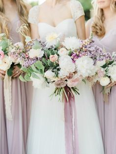 """Five years after they secretly said """"I do,"""" this bride and groom had the big wedding of their dreams, and if you ask us, it was totally worth the wait! Sage Wedding, Lilac Wedding, Floral Wedding, Wedding Colors, Wedding Flowers, Elegant Wedding, Wedding Bouquets, Dream Wedding, Bridesmaid Dresses"""