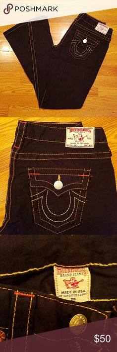 True Religion bell bottom jeans Black True Religion jeans. Like new. Wide belly bottom jeans with angled stitching. Feel free to make an offer using the offer button. True Religion Jeans Flare & Wide Leg