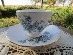 Vintage Teacup Tea Cup and Saucer flower Blue by Holliezhobbiez