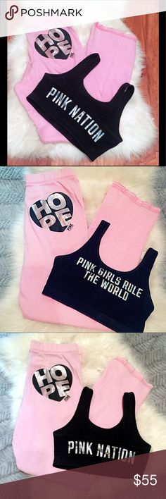 💘Victoria Secret Pink Nation Set - sweatpants bra 💘Victoria Secret Pink Nation Set - sweatpants bra ▪️size Small (2 for 1 deal!! Great Deal!!)  ▪️ VS pink light pink holographic hope sweatpants with holo graphics on booty, matching VS PINK NATION athletic sports bra.   - 💯 authentic 'pink girls rule the world 🌎  ▪️ loose, slouchy fit, uber comfy, strait legs, lounge sweatpants. Stretchy waistband ▪️ Brand:  VS PINK Nation  ▪️ Condition: Great condition 👌 No rips, stain or tears 🚭 smoke…