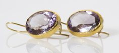 oval faceted #amethyst earrings set in 24k gold