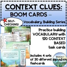 Boom Cards - Context Clues: Vocabulary Building Series (MEGA BUNDLE) Vocabulary Building, Context Clues, Student Learning, Task Cards, Sentences, Literacy, Language, Teaching, Words
