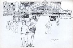 Paul Hogarth in America Line Sketch, Sketchbook Inspiration, Urban Sketching, Animal Nursery, Illustrators, Illustration Art, Sketches, Puppies, America