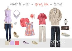 Spring Look - Family  When deciding what to wear for family portraits pick out a bold pattern to start with, then add simple pops of color to support the outfit. The goal is to coordinate and not match.