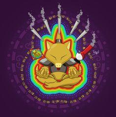 pokemon - Trippy - trip - weed - abra - psicodelic - ilustration