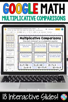 """LOVE THE VARIETY OF SLIDES!"" With this 4th Grade Multiplicative Comparisons {4.OA.1 & 4.OA.2} digital resource for Google Slides, your students will practice interpreting multiplication equations as comparisons and solving problems using multiplicative comparisons. Online Classroom, Classroom Tools, Google Classroom, Math Classroom, 4th Grade Multiplication Worksheets, Multiplication And Division Practice, Third Grade Math, Fourth Grade, Google Math"