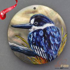 HAND PAINTED BLUE BIR NATURAL MOTHER OF PEARL SHELL DIY PENDANT ZH30 00091 #ZL #PENDANT