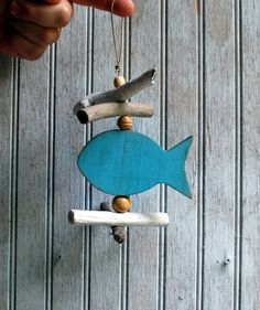 Fish Ornament, Driftwood and Recycled Wood Handmade Ornament