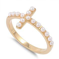 Sterling Silver Stunning Gold Tone Pearl Cross Ring Sz 5-9 – Silvershasta.com
