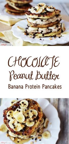 Chocolate Peanut Butter Banana Protein Pancakes that are gluten free, high in protein, low in fat using probiotic fermented dairy protein.