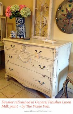 Charmant Distressed Dresser Finished In Linen Milk Paint