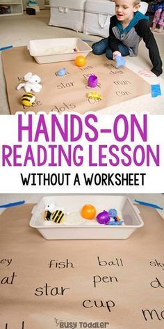 Matching Objects to Words: Reading Activity: Hands on reading lesson; first grade reading activity from Busy Toddler school activities kindergarten Preschool Learning Activities, Fun Learning, Baby Activities, Pre Reading Activities, Preschool Phonics, Mobile Learning, Learning Quotes, Kids Reading Games, Hands On Activities