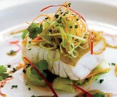 """Grouper with Cucumber Slaw and Key Lime Butter Sauce. Fresh! Flavorful! Light! and Citrusy! Come Home to Florida! One of my favorite fish is Grouper.  Light, flaky and delicious! I prefer my grouper to  be fairly unadorned meaning not heavily breaded, coated or sauced. This recipe accomplishes that as well as bringing into play some very """"Florida"""" influenced flavors! www.creativeelegancecatering.com www.creativeelegancecatering.blogpot.com"""