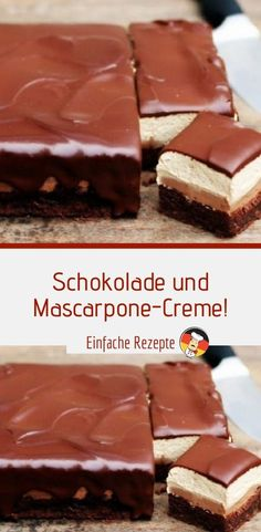 Ingredients for the dough: 100 g of coarsely grated nuts 100 ml of oil 300 g of flour 4 egg Easy Dessert Bars, Summer Dessert Recipes, Dessert Cake Recipes, Easy No Bake Desserts, Healthy Dessert Recipes, Tastemade Dessert, Creme Mascarpone, Chocolate Cream, Cacao