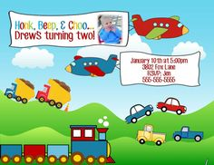 Cars Trucks Trains Planes Birthday Party Invitation Any Colors Add Photo…
