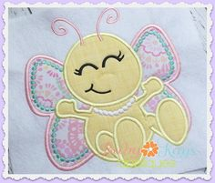 Cutie Butterfly Applique - This cutie little bug is a beautiful butterfly. With her pearls and elegant wings she is a perfect design for any little girl!