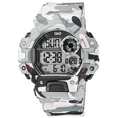 ea5c065dca91 Reloj Q Q by  Citizen con colores camuflaje en negros-grises y blanco