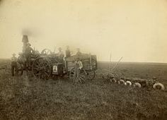 """""""Ploughing"""" with steam-powered tractor, Ink Farm This image is from Set Pioneer Farms. Pioneer Farms, Vintage Farm, North Dakota, Historical Society, Farm Life, Farmers, New England, Vintage Photos, Tractors"""